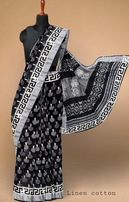 Women's Printed Bhagalpuri Linen Cotton Saree with Blouse