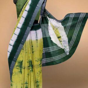Women's Bhagalpuri Linen Cotton Sarees with Blouse