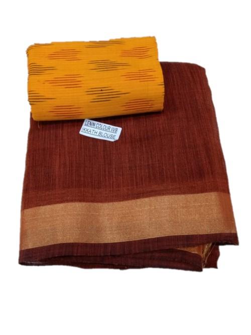Women's Linen Plain Saree with Ikkat Blouse