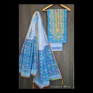 Women's Cotton Gota Work Jaipuri Hand Block Print Salwar Suit Material With Cotton Dupatta